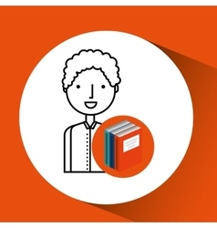 Library books school student boy vector