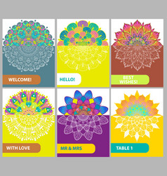 Collection of color cards with vintage decorative vector