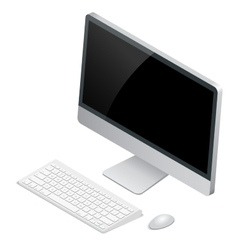 Desktop computer with wireless keyboard and mouse vector image vector image