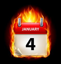 Fourth january in calendar burning icon on black vector