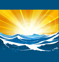 shiny sun seascape for travel poster vector image