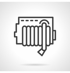 Simple line fire hose reel icon vector image