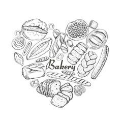 the isolated heart of bakery products vector image vector image