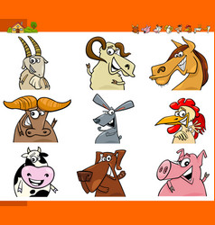 farm animal characters cartoon set vector image vector image