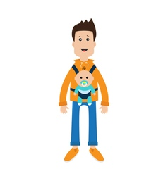Funny cartoon guy Cute male character holding boy vector image
