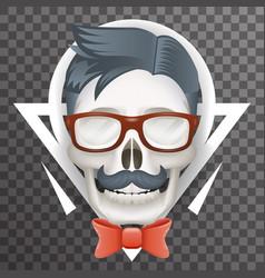 Human skull geek hipster fashion poster mustache vector