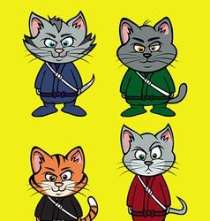 kitten ninja lineup vector image vector image