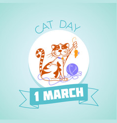 1 march cat day vector