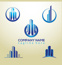 3d building logo design vector