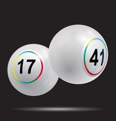 3d white bingo lottery balls on black background vector image