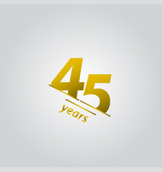 45 years anniversary celebration gold line vector