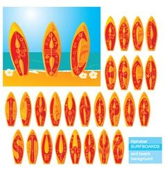 ABC - alphabet - surf boards vector image