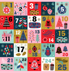 Advent calendar with christmas decorations vector