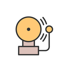 alarm bell flat color line icon vector image
