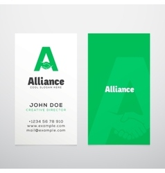 Alliance abstract business card template vector