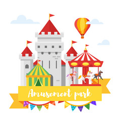 Amusement park or funfair design vector