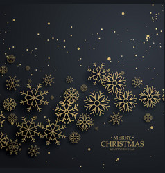 awesome black background with gold snowflakes vector image