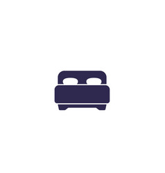 bedroom double bed icon on white vector image