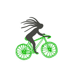 bike with cyclist icon poster sticker vector image
