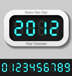 Blue glowing digital numbers - new year 2012 vector