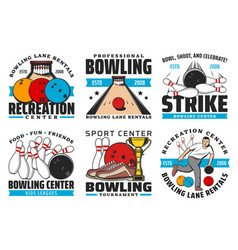bowling sport game icons with balls and pin strike vector image