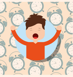 boy in pajamas yawning and stretching clocks vector image