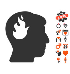 Brain fire icon with valentine bonus vector