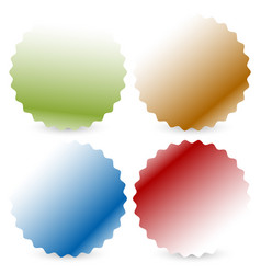bright colorful button badge shapes with shadow vector image