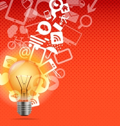 Bright lamp with media icons vector image
