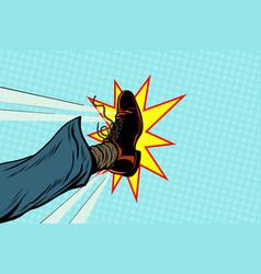 Businessman kicking pop art foot vector