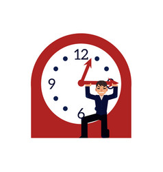Businessman trying to stop time holding minute vector