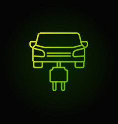 car with plug green line icon electric car vector image