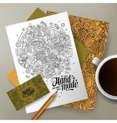 Cartoon cute hand drawn doodles Handmade vector image