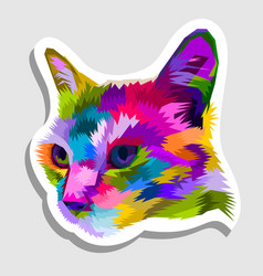 cat head on geometric pop art style sticker icon vector image