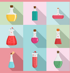 chemical flask icons set flat style vector image