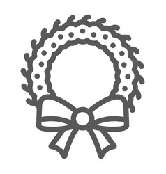 christmas wreath line icon xmas and winter vector image