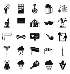 Circus training icons set simple style vector