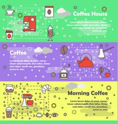 coffee flat line art banner set vector image