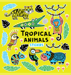 Collection of stickers with tropical animals with vector