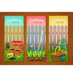 Colorful collection of gardening vertical banners vector