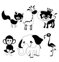 cute animals black version vector image