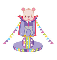 cute circus bear with layer in balloon vector image