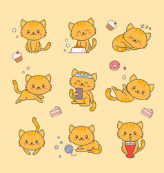 cute kitten kawaii character sticker set cat vector image