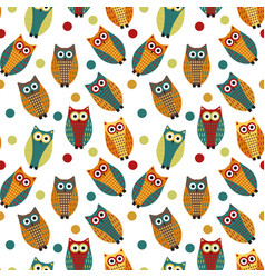 cute owl kids seamless pattern vintage style vector image