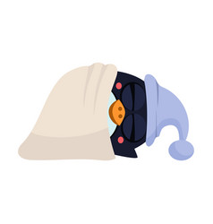 cute sleeping penguin in a hood vector image