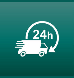 delivery 24h truck with clock 24 hours fast vector image