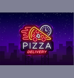 Delivery pizza neon sign logo in neon style vector