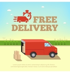 Delivery service concept Truck van for fast shipp vector