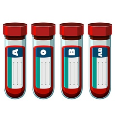 Different blood types in test tube vector image
