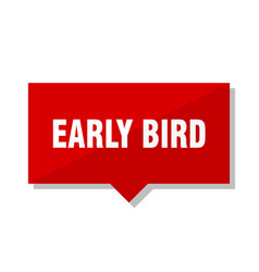 Early bird red tag vector